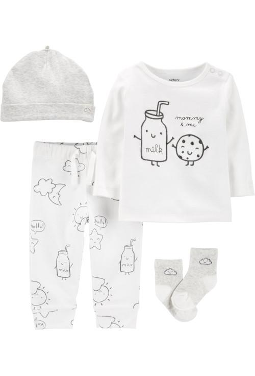 Carter's Set 4 piese bebelus pantaloni, bluza, căciulă și sosete Prajitura
