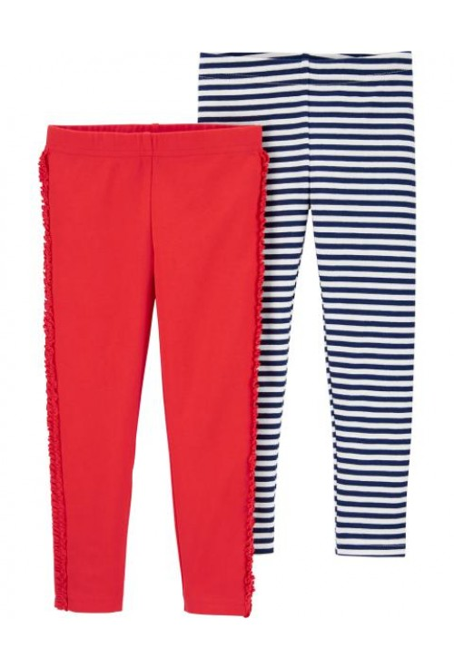 Carter's-Set 2 pantaloni rosu dungi
