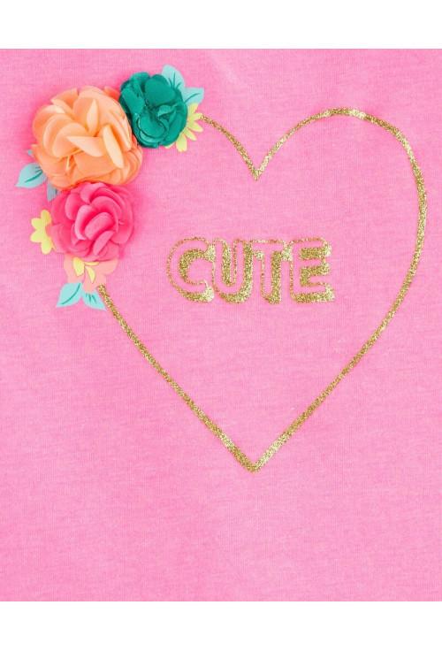 Oshkosh Tricou roz cu inimioara si flori aplicate