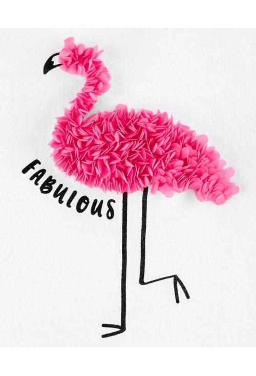 Oshkosh Tricou alb cu flamingo si aplicatii