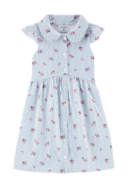 Carter's Rochiță alb/albastra cu floricele