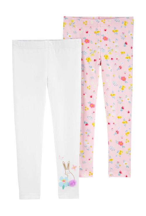 Carter's Set 2 pantaloni iepuras si floricele