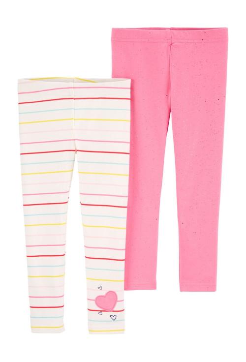 Carter's Set 2 pantaloni cu dungi colorate si roz cu sclipici