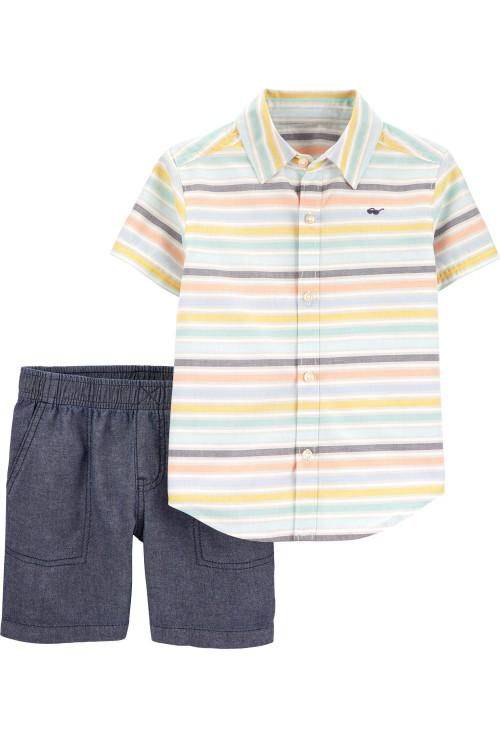 Carter's Set 2 piese pantaloni si camasa cu dungi
