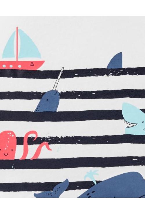 Carter's Set 2 piese tricou si pantaloni scurti Balena