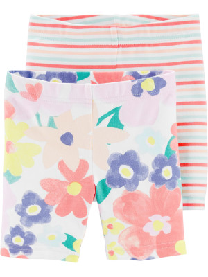 Carter's Set 2 Piese pantaloni scurti cu flori si dungi