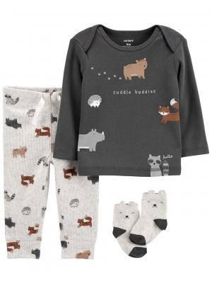 Carter's Set 3 piese bebelus bluza pantaloni si sosete Animale