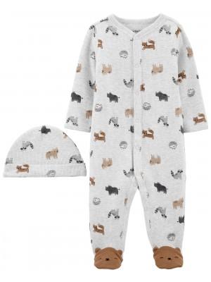 Carter's Set 2 piese Ursulet pijama si caciulita
