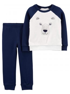 Carter's Set 2 piese bluza si pantaloni Urs polar