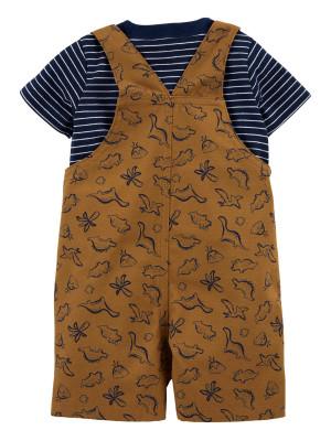 Carter's Set 2 piese tricou si salopeta Dinozauri
