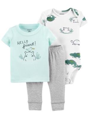 Carter's Set 3 piese body tricou si pantaloni scurti Hipopotam