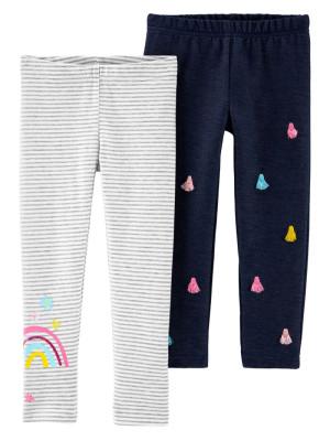 Carter's Set 2 pantaloni Curcubeu si denim