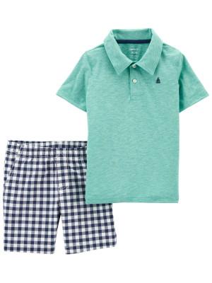 Carter's Set 2 piese tricou si pantaloni scurti in carouri