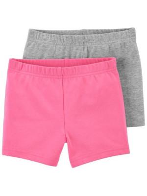 Carter's Set 2 piese pantaloni scurti roz si gri