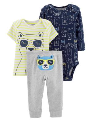 Carter's Set 3 Piese Ursuleț body, tricou & pantaloni 100% bumbac
