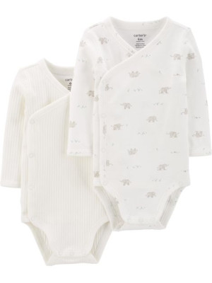 Carter's Set 2 body bebe inchidere laterala uni, elefantei