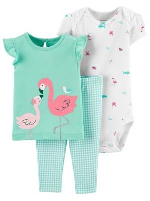 Carter's Set 3 piese pantaloni, tricou si body Flamingo