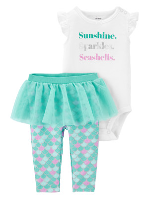 Carter's Set 2 piese bebe body si pantaloni cu tutu Sirena