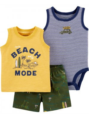 Carter's Set 3 Piese body maiou si pantaloni scurti Surf