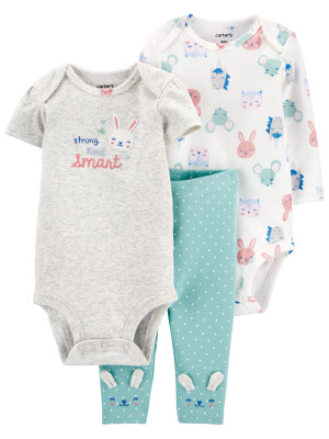 Carter's Set 3 Piese bebe 2 body si pantaloni Iepuras