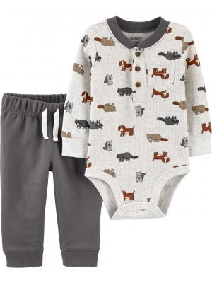 Carter's Set 2 piese bebelus pantaloni si body Castor