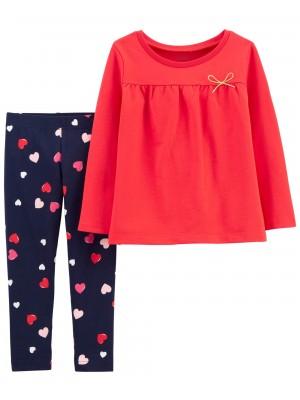 Carter's Set 2 Piese bluza si pantaloni Inimioare
