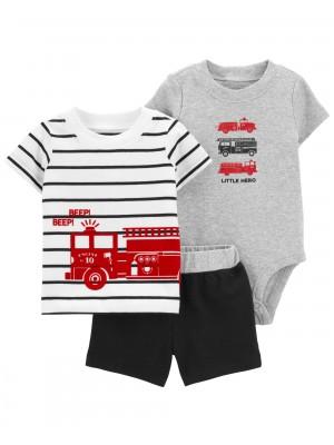 Carter's Set 3 piese tricou, body si pantaloni scurti Pompieri