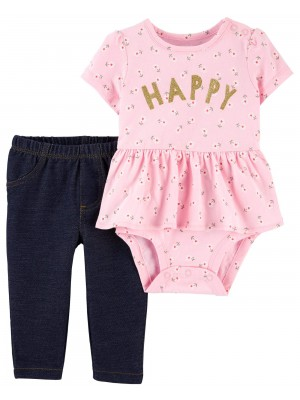 Carter's Set 2 piese body si pantaloni Happy