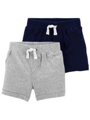 Carter's Set 2 piese pantaloni scurti gri bleumarin