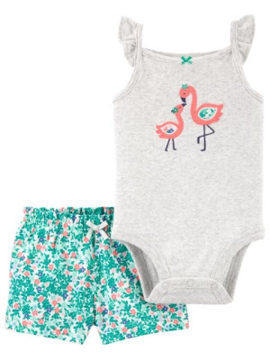Carter's Set 2 piese body si pantaloni Flamingo