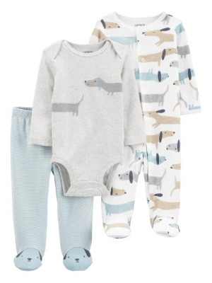 Carter's Set 3 piese pantaloni body si pijama Catei