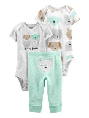 Carter's Set 3 piese pantaloni si 2 body Animale