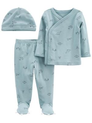 Carter's Set 3 piese pantaloni bluza si caciulita Dinozauri