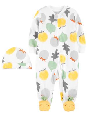 Carter's Set 2 piese pijama si caciulita Legume