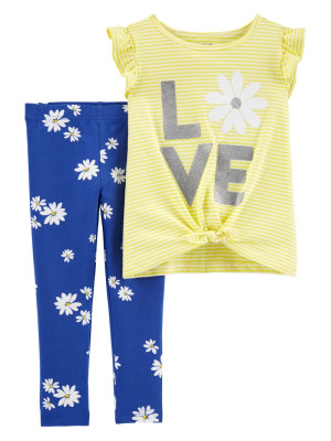 Carter's Set 2 Piese  cu flori tricou si pantaloni