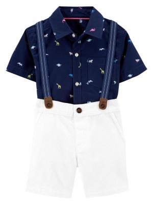 Carter's Set 3 Piese pantaloni scurti, cămașă si bretele Dino