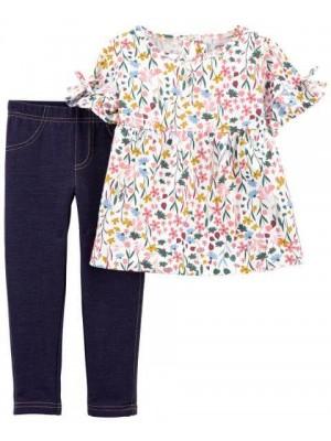 Carter's Set 2 Piese top si pantaloni Flori