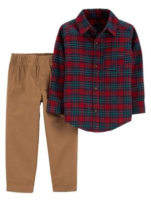 Carter's Set 2 piese camasa cadrilata si pantaloni