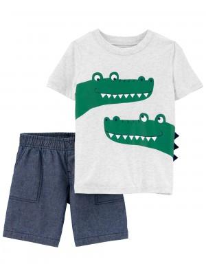 Carter's Set 2 piese tricou si pantaloni scurti Aligator