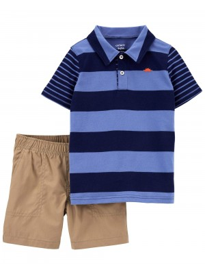 Carter's Set 2 piese tricou polo si pantaloni scurti
