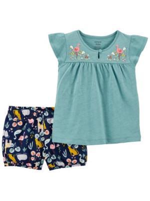 Carter's Set 2 piese tricou si pantaloni scurti Flamingo