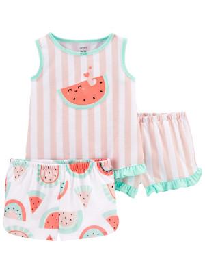 Carter's Pijama 3 piese Pepene rosu