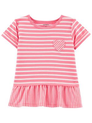 Carter's Tricou roz cu dungi