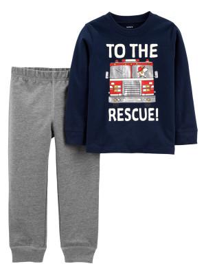 Carter's Set 2 piese pantaloni si bluza Masina de pompieri