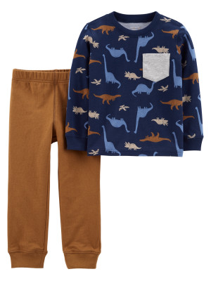 Carter's Set 2 piese pantaloni si bluza Dinozauri