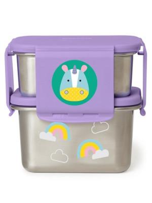 Skip Hop Kit pentru pranz din otel inoxidabil Zoo - Unicorn