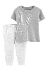 Carter's Set 2 Piese Iepuraș pantaloni & tricou 100% bumbac