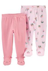 Carter's Set 2 piese pantaloni roz Flori
