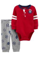 Carter's Set 2 piese bebelus pantaloni si body Fotbal