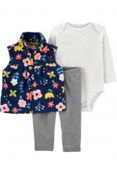 Carter's Set 3 piese bebelus pantaloni body si vesta Flori